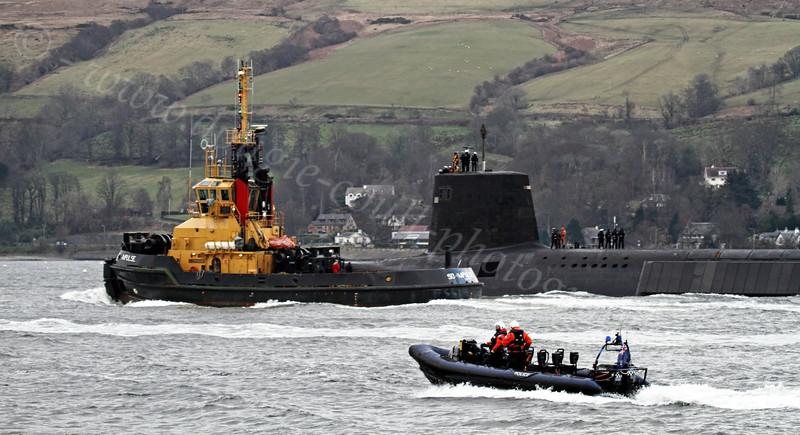 HMS Victorious - Heading to Faslane Naval Base - 30 January 2012