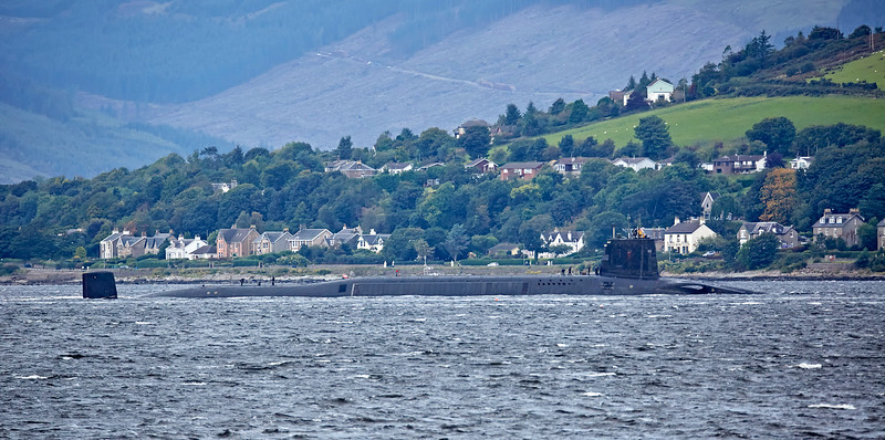 Vanguard Class RN Submarine passing Kilcreggan - 11 September 2017