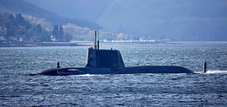 Astute Class RN Submarine off Cloch Lighthouse - 24 April 2017