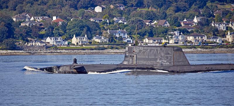 Astute Class RN Submarine off Cloch Lighthouse - 7 September 2019