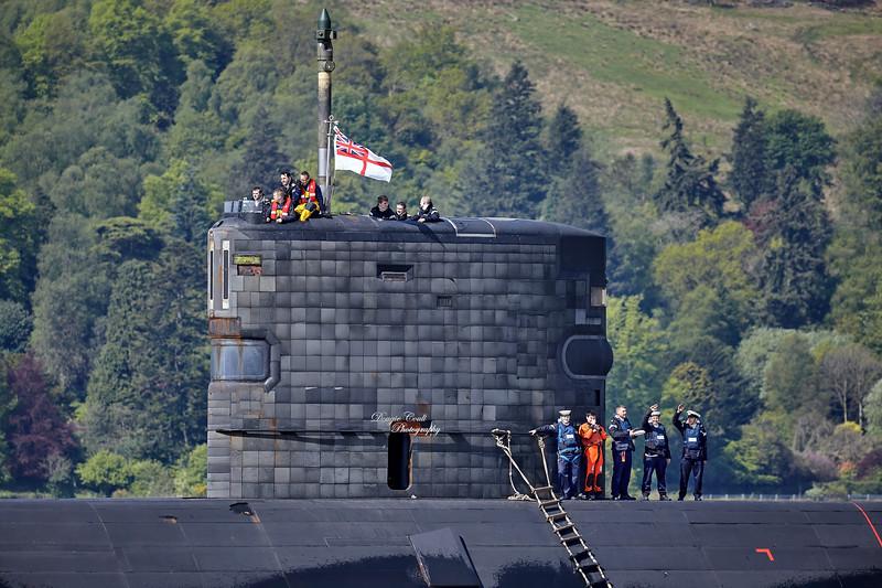 Trafalgar Class Submarine off Rhu Spit - 16 May 2014