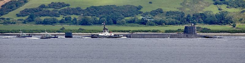 RN Vanguard Class Submarine off Gourock - 8 July 2020
