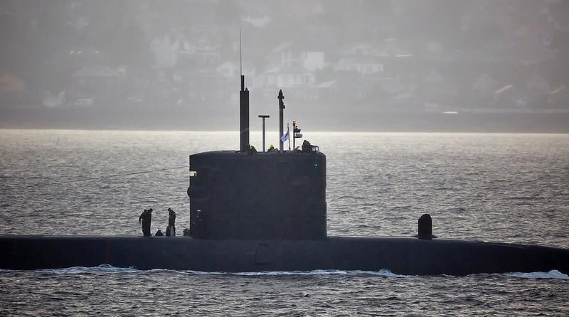 RN Trafalgar Class Submarine passing Cloch Lighthouse, Gourock - 29 September 2016