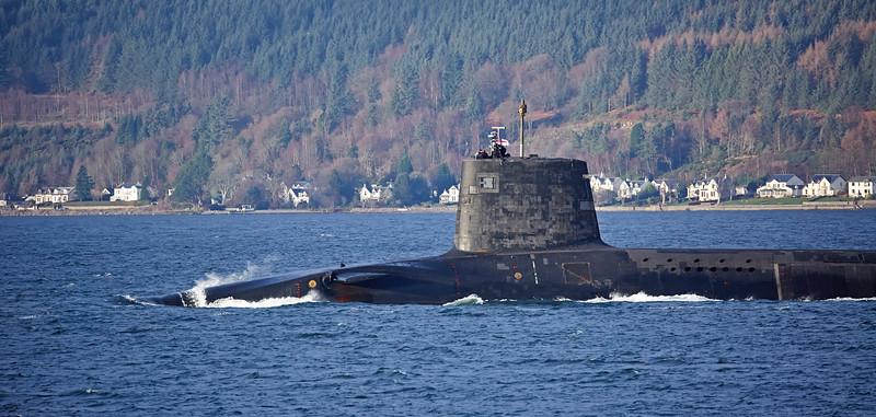 Vanguard Class RN Submarine passing Cloch Lighthouse - 17 December 2016