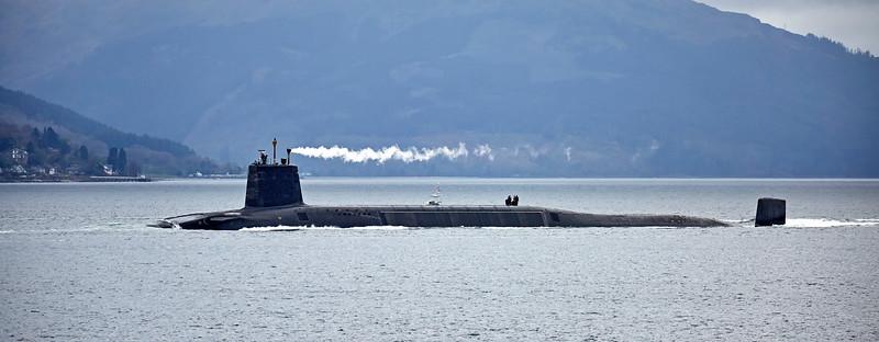 Vanguard Class RN Submarine passing Cloch Lighthouse - 20 April 2017