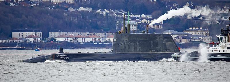 Astute Class Submarine off Cove - 13 February 2020
