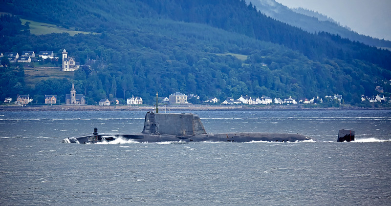 Astute Class RN Submarine off Cloch Lighthouse - 1 August 2017