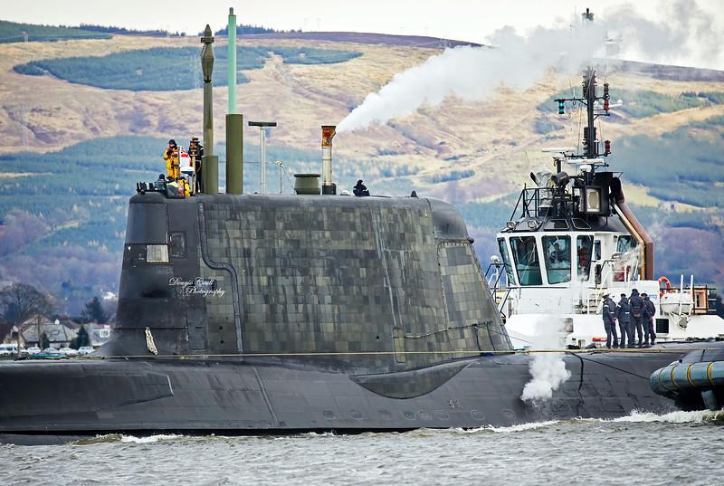 Astute Class Submarine off Rhu Spit - 13 February 2020