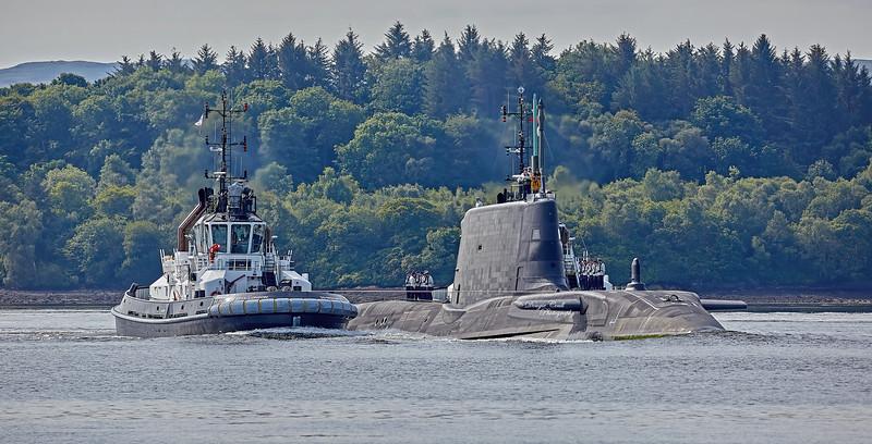 HMS Audacious (S122) off Rhu Spit - 12 July 2020
