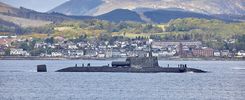 Astute Class RN Submarine off Gourock - 10 May 2019