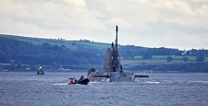 HMS Artful approaching Rhu Spit - 19 August 2015