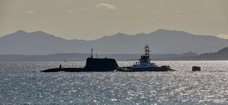 RN Astute Class Submarine off Cove - 26 September 2020