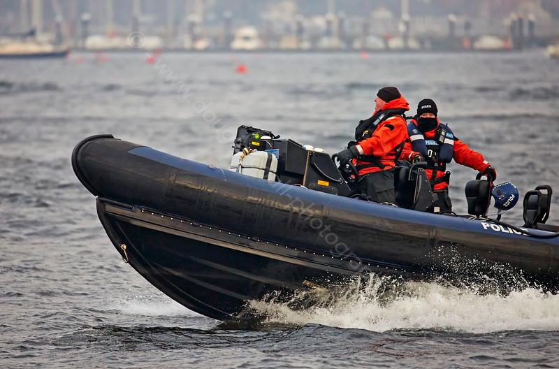 MOD Police escorting a Vanguard Class Submarine off Rhu Spit - 10 April 2015