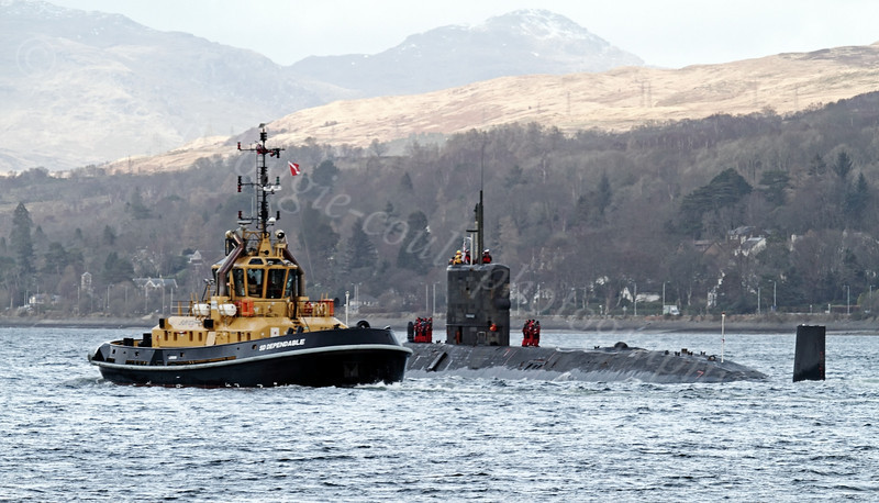 HMS Trenchant and SD Dependable - Off Rhu Spit - 13 February 2012