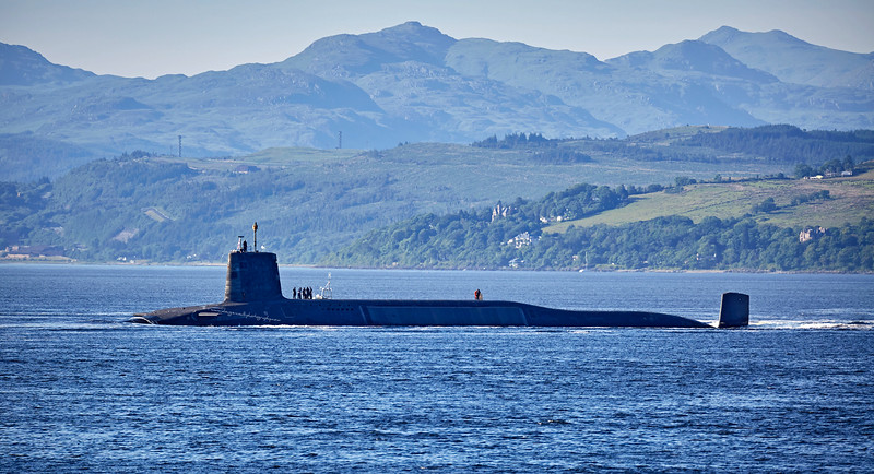 RN Vanguard Class Submarine off Cloch Point - 20 June 2017