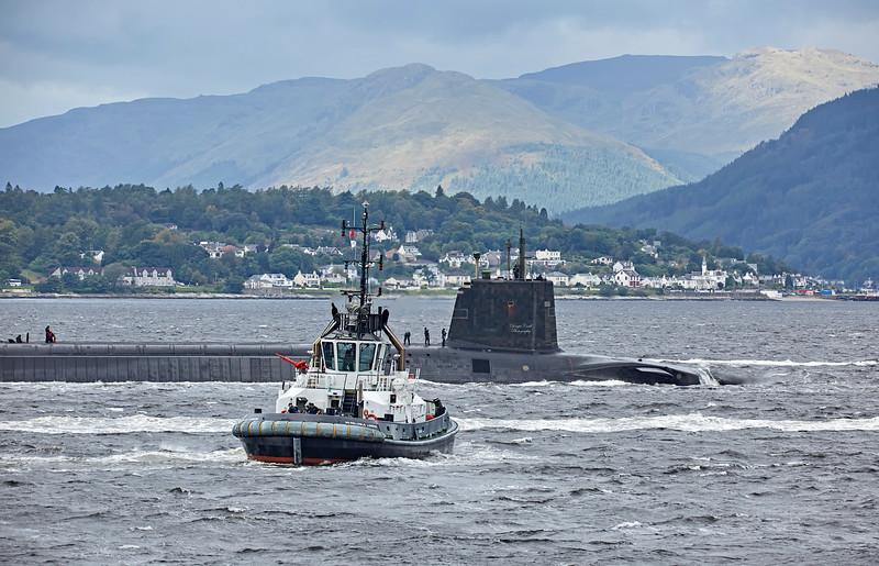 Vanguard Class RN Submarine passing Cloch Lighthouse - 11 September 2017