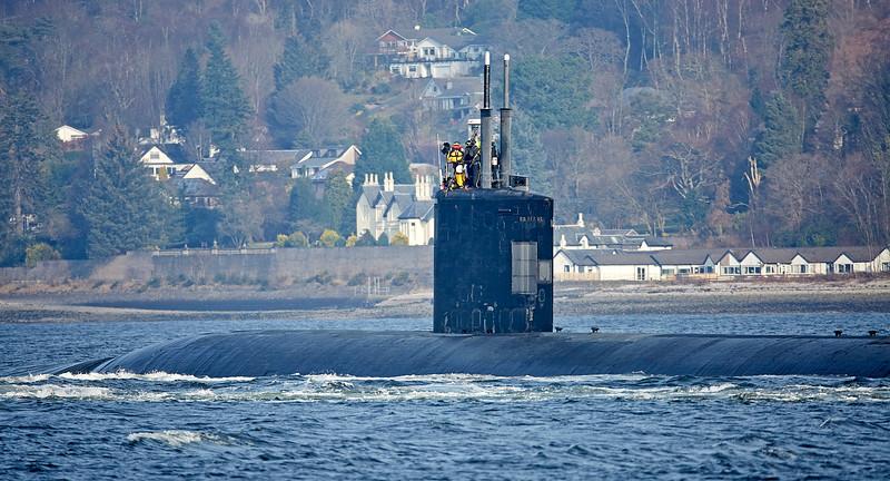 Los Angeles Class Submarine off Rhu - 23 February 2018