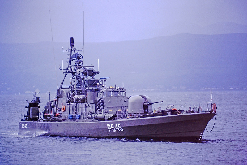 Guided Missile Boat/Torpedo Boat 'Norby' (P545) passing Greenock - 1 August 1996
