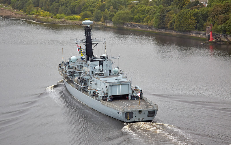 HMS Somerset (F82) passing Erskine Bridge - 28 September 2016