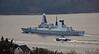 'HMS Daring' heading to sea from Loch Long - 7 December 2015
