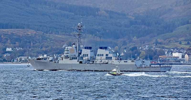 USS Oscar Austin (DDG-79) at Cloch Lighthouse, Gourock - 22 October 2017