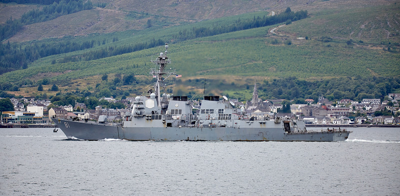 USS  Winston S Churchill (DDG-81) at Cloch Lighthouse, Gourock - 16 July 2018