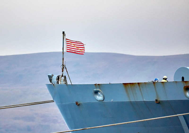 First Navy Jack on the USNS Big Horn (T-AO-198) at Loch Striven Jetty - 10 October 2018