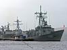 Stacked at Faslane - TCG Goksu (F497) - Turkish Navy on the outside