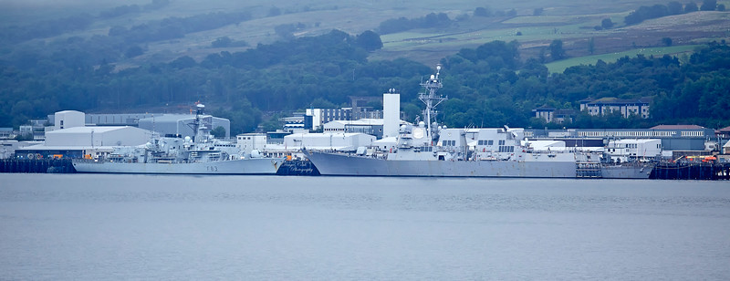 HMS St Albans (F83) and USS Farragut (DDG-99) at Faslane Naval Base - 3 August 2018