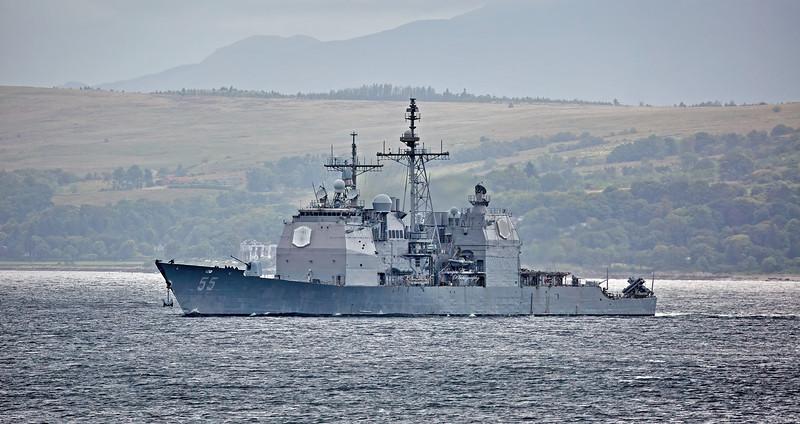 USS Leyte Gulf (CG-55) passing Cloch Point, Gourock - 17 August 2017