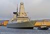 'HMS Defender' Approaches  KGV Docks - 29 November 2013