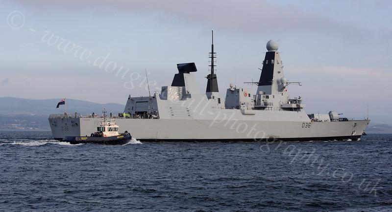 HMS Defender returning from first sea trials - off Port Glasgow Light - 14 November 2011