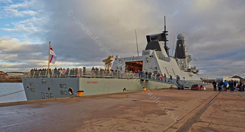 Embarking on 'HMS Defender' at  KGV Docks - 30 November 2013