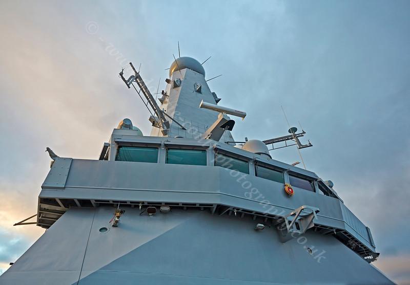 Superstructure on 'HMS Defender' at  KGV Docks - 30 November 2013