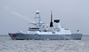HMS Dragon Heads Downriver on Trials