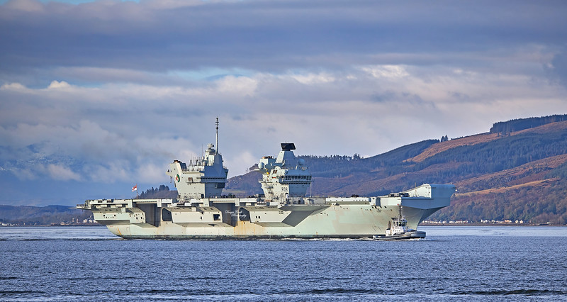 HMS Queen Elizabeth (R08) off Strone Point - 15 March 2021
