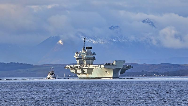 HMS Queen Elizabeth (R08) passing Innellan - 15 March 2021