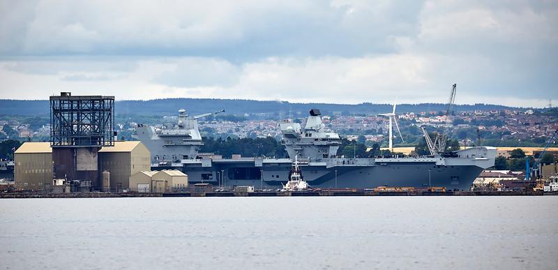 HMS Queen Elizabeth (R08) exiting Rosyth - 26 June 2017