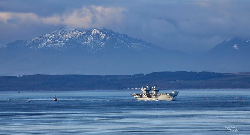 HMS Queen Elizabeth (R08) off Dunoon - 15 March 2021