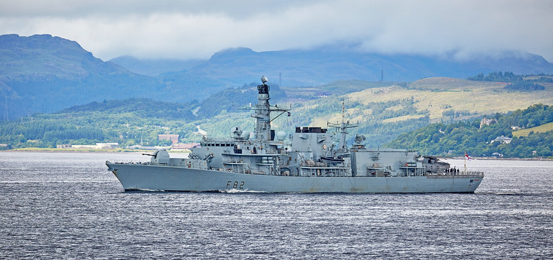 HMS Somerset (F82) off Cloch Lighthouse - 18 July 2016
