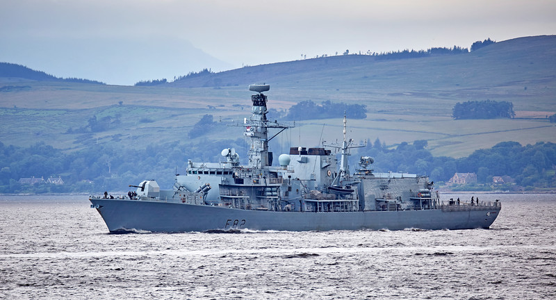 HMS Somerset (F82) off Cloch Lighthouse - 11 July 2016