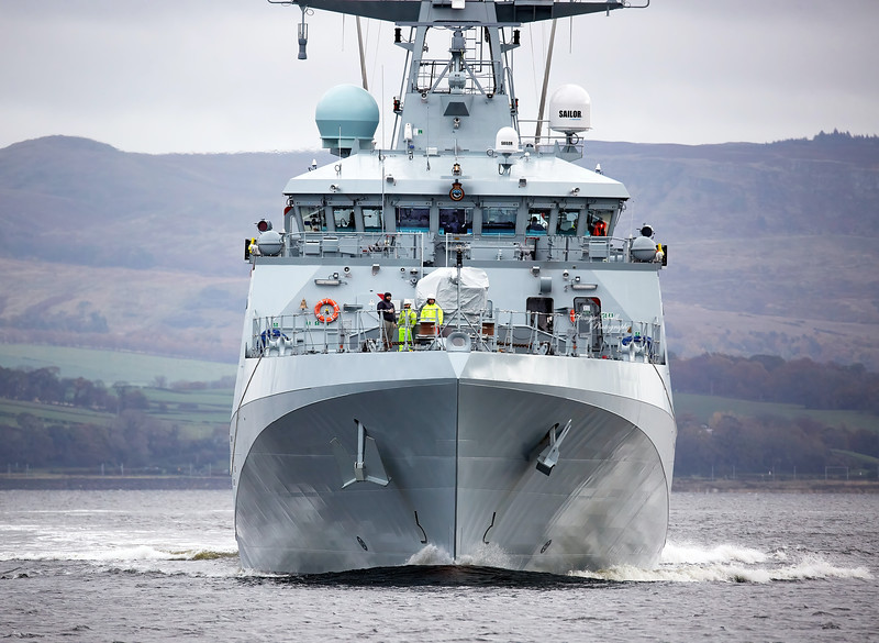 HMS Spey (P234) passing Greenock - 28 October 2020