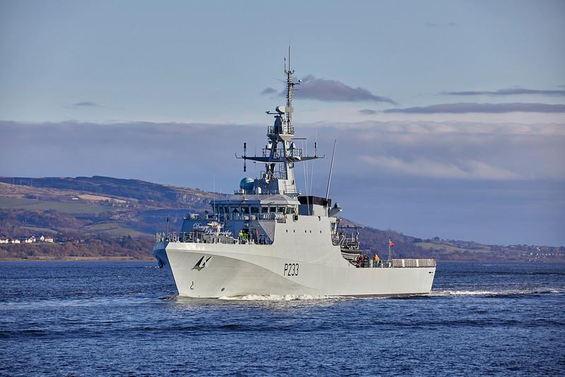 HMS Tamar (P223) passing Port Glasgow - 15 November 2019