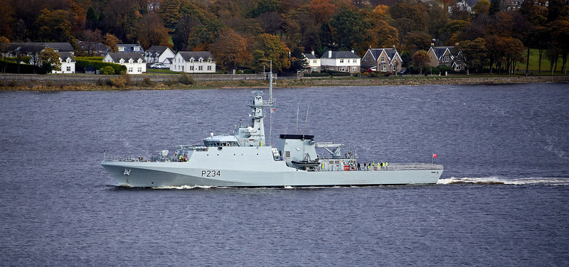 HMS Spey (p234) passing Langbank - 28 October 2020