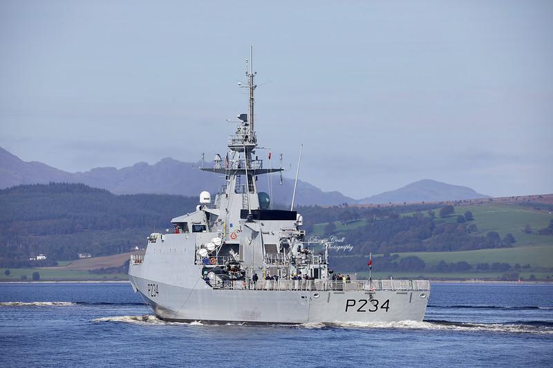 HMS Spey (P234) passing Port Glasgow - 17 September 2020