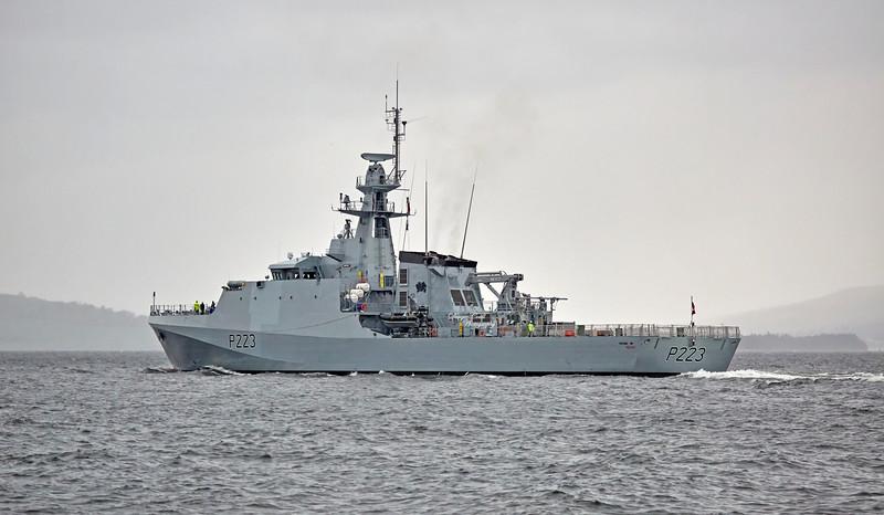 HMS Medway (P223) passing Greenock - 9 November 2018