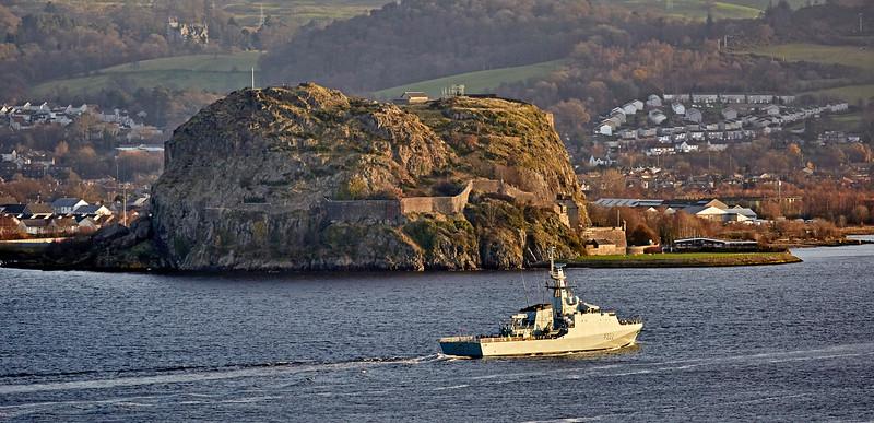 HMS Forth (P222) off Dumbarton Rock - 3 December 2017