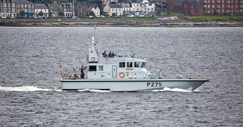HMS Raider (P275) Passing Cloch Point, Gourock - 20 July 2017