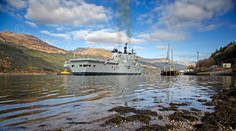 HMS Illustrious Berthing at Glen Mallan Jetty - 1 March 2013