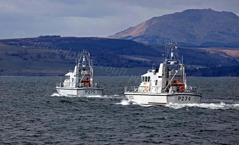 HMS Raider and HMS Tracker - Off Port Glasgow - 12 March 2013